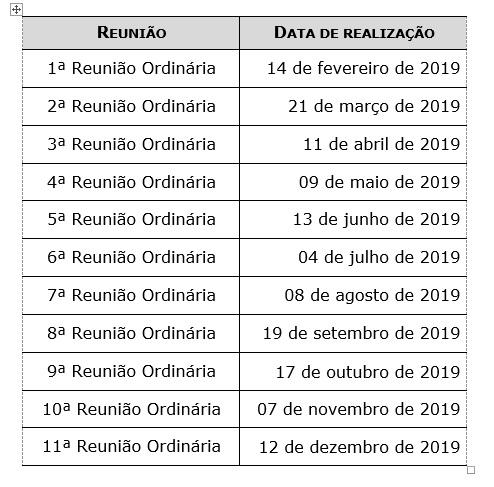 Calendario Reunioes CEPT